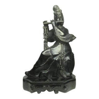 """Early 1900s Chinese """"Guanjin Playing the Flute"""" Onyx Figurine For Sale"""