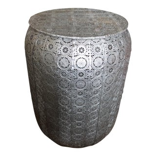 Hand Hammered Metal Stool With Lace Details