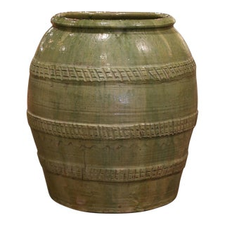 19th Century French Hand Carved Green Terracotta Olive Oil Jar From Provence For Sale