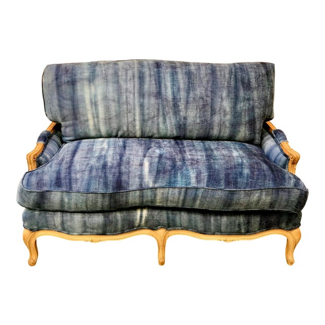 Early 20th Century Antique French Dip-Dyed Ombre Indigo Fabric Settee For Sale
