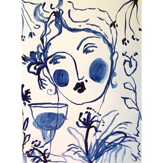 Flowers & Wine in Indigo Painting For Sale