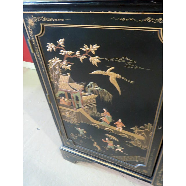 "Georgian Furniture Company Chinoiserie 2 door ebonized commode with 1 shelf and gilt accents. ""Hand made in Korea"""