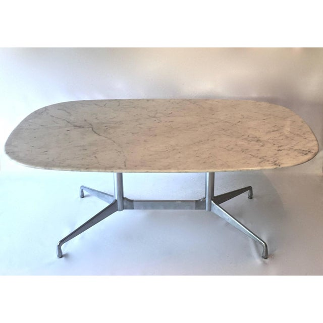 Eames For Herman Miller White Marble Dining Table Chairish - White marble conference table