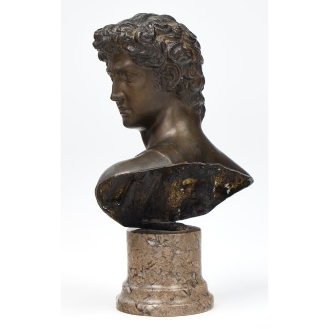 Gold French Antique Bust of David after Michelangelo For Sale - Image 8 of 11