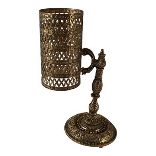 Hollywood Regency Gold Filigree Paper Cup Dispenser For Sale