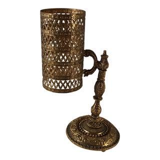 Hollywood Regency Gold Filigree Paper Cup Dispenser For Sale
