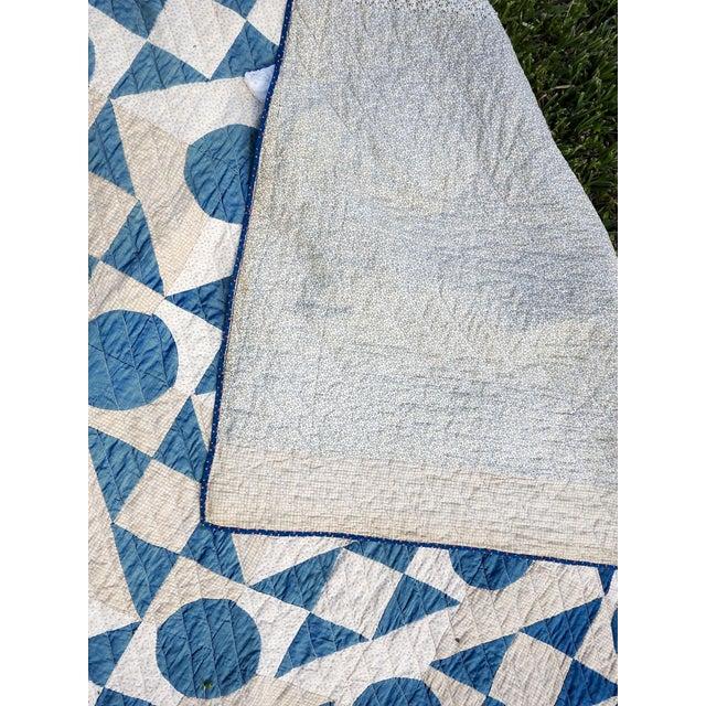 Textile Antique Blue & White Graphic Quilt For Sale - Image 7 of 10