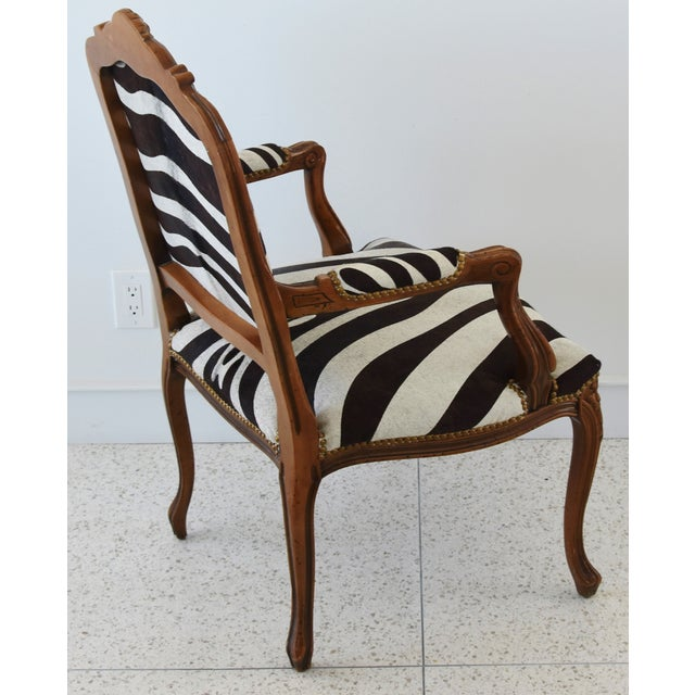 1950s Carved Hardwood & Tiger Cowhide Upholstered Armchair For Sale - Image 9 of 13