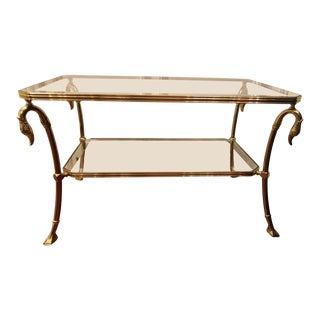 20th Century Hollywood Regency Brass & Glass Swan Coffee Table For Sale