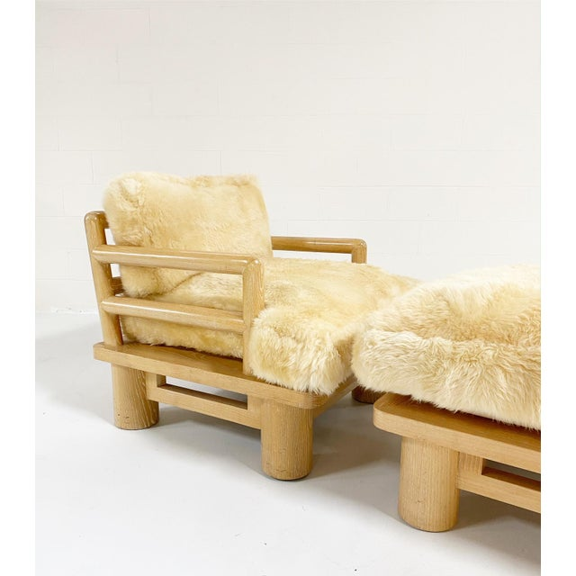 Modern Karl Springer Dowelwood Lounge Chair and Ottoman With Sheepskin Cushions For Sale - Image 3 of 5