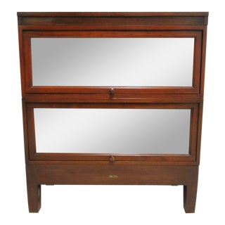 1940's Antique Walnut Globe Wernicke 2 Stack Barrister Bookcase Shelf For Sale