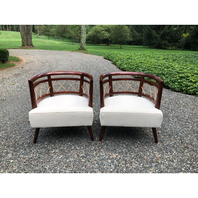 Wood Pair of Milo Baughman (Attributed) Barrel Back Chairs For Sale - Image 7 of 7