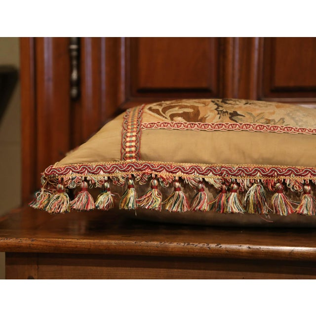 Handmade French Pillow With 19th Century Aubusson Verdure Tapestry Fragment For Sale In Dallas - Image 6 of 10
