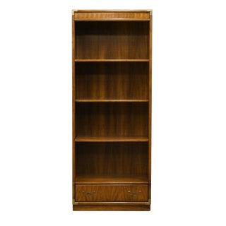 Late 20th Century Vintage Drexel Heritage Accolade Collection Campaign Style Bookcase For Sale