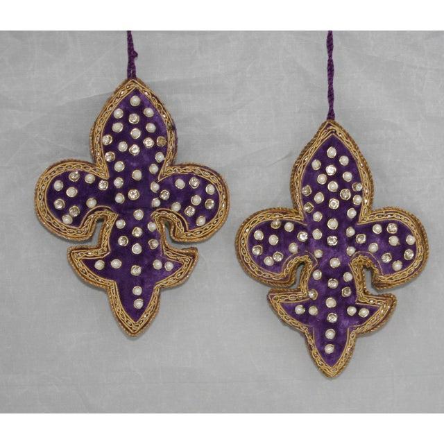 Ornamental & Decorative Materials Sudha Pennathur Fleur De Lis Purple Velvet Beaded Ornaments - Set of 2 For Sale - Image 7 of 7