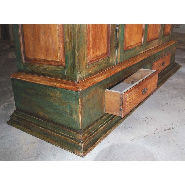 Early 21st Century Large Green and Red Painted Armoire For Sale - Image 5 of 10