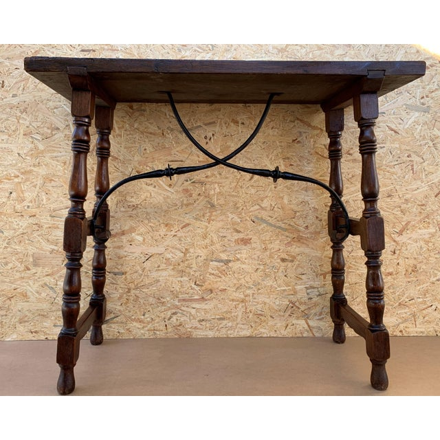 19th Spanish Console Table With Iron Stretcher and Shaped Legs, Side Table, Baroque For Sale - Image 4 of 11