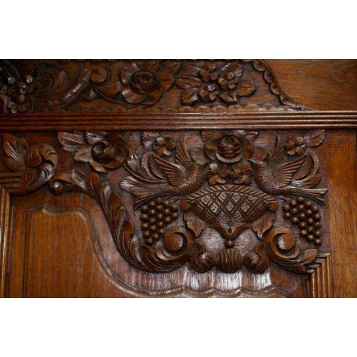 Oak 19th Century Carved Oak Marriage Armoire For Sale - Image 7 of 7