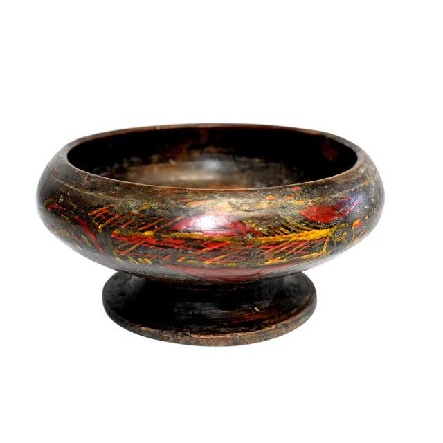 Antique Tibetan Wheat Motif Wooden Bowl For Sale