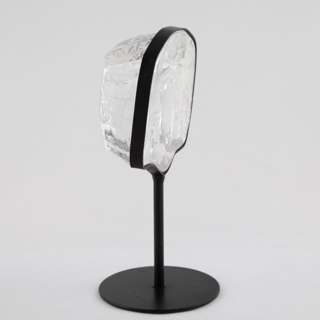 Metal Glass Face Sculpture on Iron Stand by Erik Hoglund for Kosta Boda Circa 1960s For Sale - Image 7 of 12