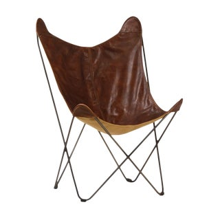 Brown Leather Butterfly Chair For Sale