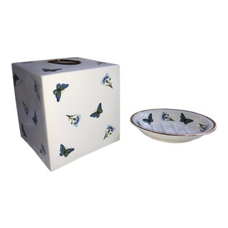 Cottage Style White Ceramic Tissue Box and Coordinating Soap Dish - 2 Pieces