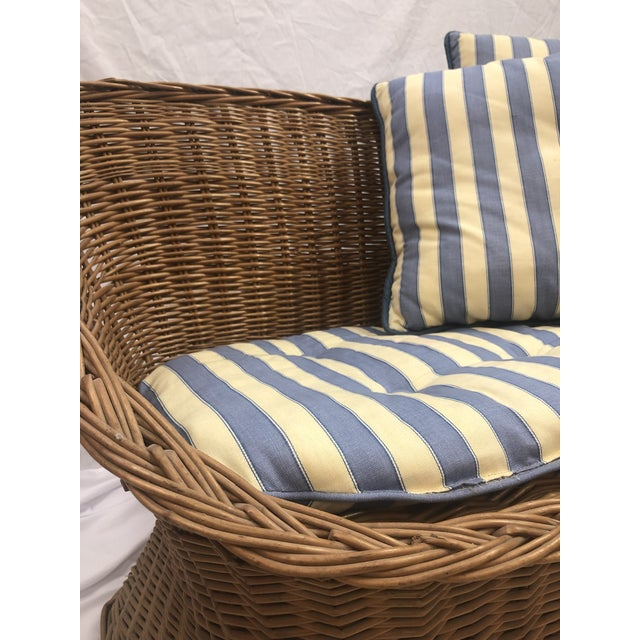 1970s 1970s Vintage Woven Rattan Wicker Settee For Sale - Image 5 of 6