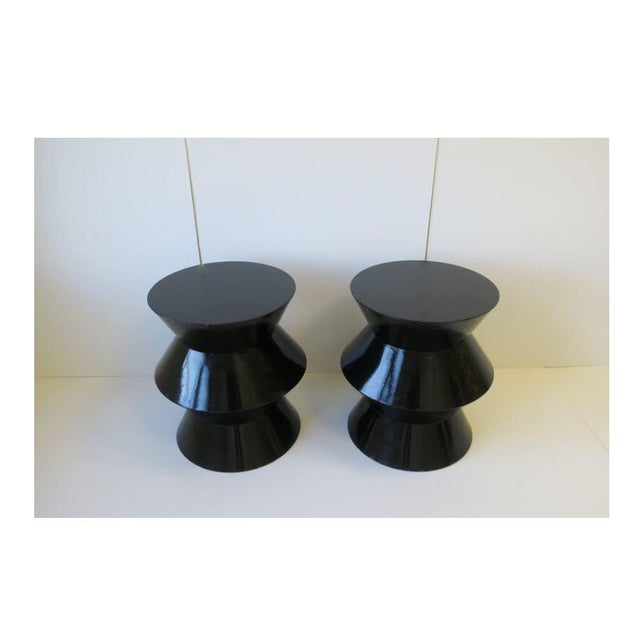 20th Century Art Deco Round Black Lacquer Side/End Tables - a Pair For Sale - Image 4 of 13