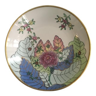 Vintage Chinese Tobacco Leaf Pattern Decorative Bowl