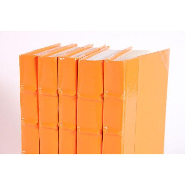 Contemporary Patent Leather Orange Books - Set of 5 For Sale - Image 3 of 3