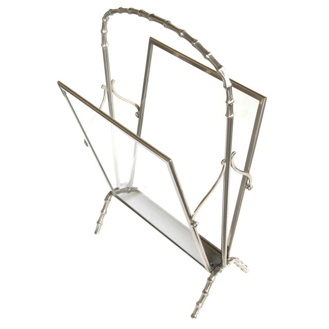 Chic French Maison Bagues 1940s Chrome and Glass Faux Bamboo Magazine Rack For Sale