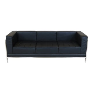 Mid-Century Modern Chrome & Black Sofa For Sale