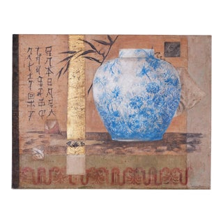 Oil Painting Still Life Collage on Burlap For Sale