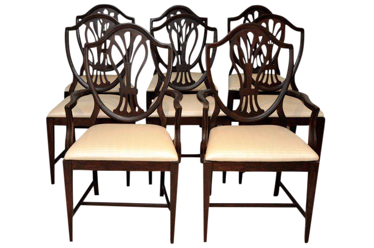 Reproduction Hepplewhite Shield Dining Chairs   Set Of 8