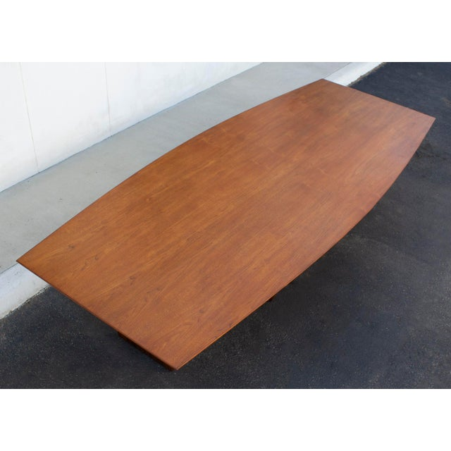 Massive Edward Wormley for Dunbar Walnut and Mahogany Dining / Conference Table For Sale - Image 12 of 12
