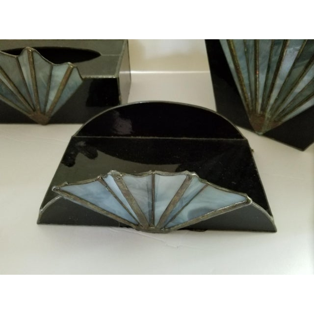 Mid 20th Century French Art Deco Black Glass Waste Basket - Set 3 For Sale - Image 5 of 12