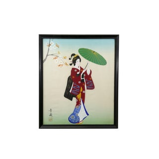 Geisha With Umbrella Painting on Silk For Sale