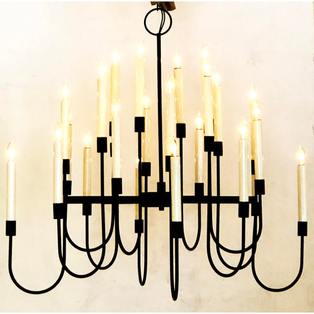Tommi Parzinger A Stylish 1960's Black Enameled Metal 12-Arm Candelabra Style Chandelier Attributed to Tommi Parzinger For Sale - Image 4 of 5
