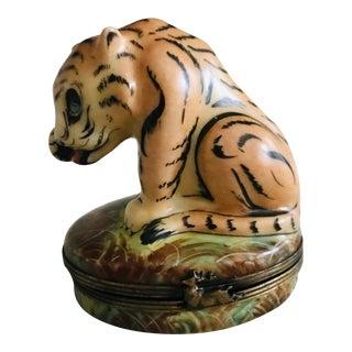 Antique Porcelain Rochard Limoges Tiger Pill Box or Trinket Box For Sale