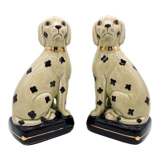 20th Century Staffordshire Style Dalmatian Dogs With Hidden Storage/ Compartments - a Pair For Sale