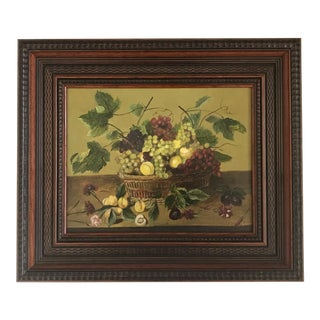 """French """"Basket of Fruit With Grapes and Carnations"""" Framed Still Life Oil Painting For Sale"""