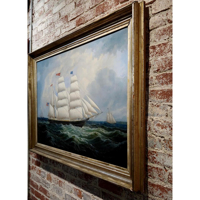 19th Century Portrait of an American Sailing Ship- Oil Painting -C1860s For Sale - Image 10 of 12