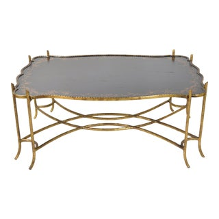 1970s Traditional Gilded Iron Faux Bois Twig Coffee Table For Sale