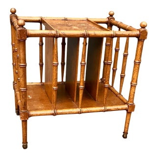 1960's Baker Furniture English Traditional- Style Burl Wood Canterbury Table Magazine Rack For Sale