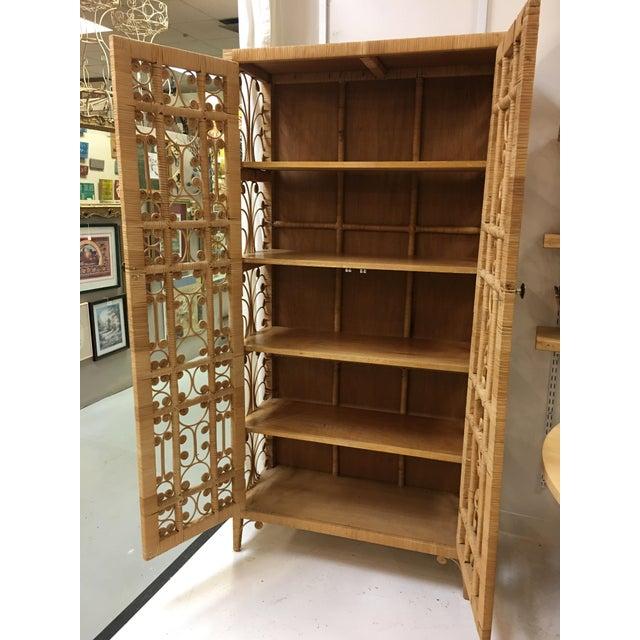 Boho Chic Bohemian Rattan Storage Cabinet For Sale - Image 3 of 11