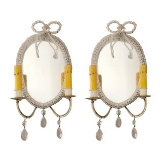 Antique Mirrored Wall Sconces, Hand-Beaded, Crystal Details on Frame - a Pair For Sale