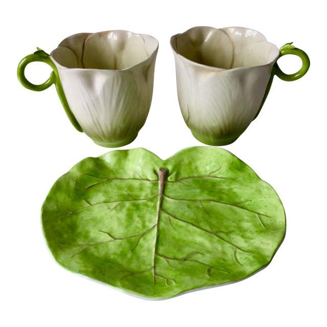 Italian Leaf Dish & 2 Porcelain Flower Cups For Sale