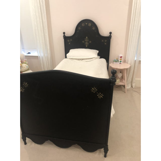 Shabby Chic S&l Designs Black Wrought Iron Twin Bed With Gold Detail For Sale - Image 3 of 5