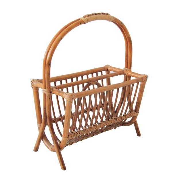 Vintage Bamboo & Rattan Magazine Rack For Sale