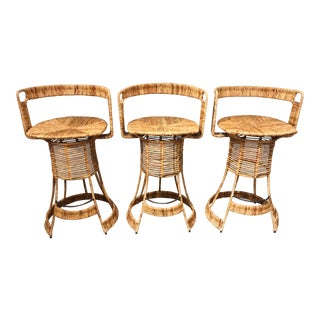 Nautical Cane Woven Bar Stools - Set of 3 For Sale